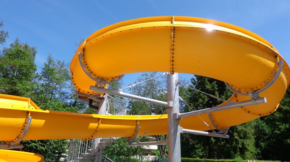 Toboggan, open air swimming pool, Troisvierges Luxembourg